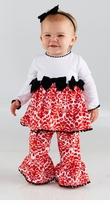 Girl's Red Damask Minky Holiday Pant Set: Mud Pie Baby Girl's Christmas Pant Set