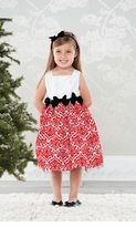 Mud Pie Girl's Special Occasion Dress: Red Damask Girl's Holiday Dress