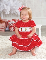 Mud Pie Holiday Dress: Red Girl's Infant or Toddler Corduroy Smocked Chistmas Dress