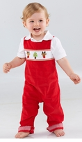 Mud Pie Infant Boy's Holiday Longall: Red Corduroy Boy's Christmas Longall