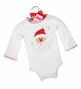 Mud Pie Baby Holiday Crawler: Baby White Christmas Onesie with Santa Face