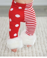 Baby Girl's Red and White Stripe Dot Leggings: Mud Pie Girl's Christmas Leggings