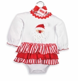 Newborn Girl's Christmas Dress: Mud Pie White and Red Santa Baby Holiday Dress