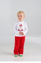 Boy's Christmas Pant Set: Mud Pie Red St.Nick Pant Set