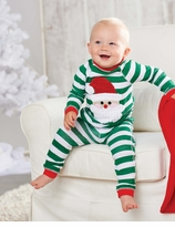 Green Stripes Santa Lounge Set: Mud Pie Infant or Toddler Christmas Pajamas - SOLD OUT