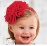 Mud Pie Baby Girl's HeadBand: Red Rosette Girl's Headband - OUT OF STOCK