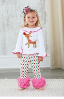 Newborn Girl 's Holiday Outfits: Mud Pie Multi Colored Reindeer Applique Dot Legging Set
