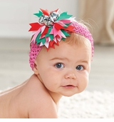 Mud Pie Girl's Holiday Headbands: Pink Girl's Jingle Bell Soft Headband