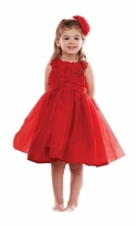 Mud Pie Red Rosette Party Dress: Girl's Special Occasion Holiday Dress