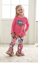 Mud Pie Minky Owl Pant Set