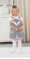 Grey Corduroy Mouse Jumper Dress Set: Mud Pie Girl's 2-piece Set