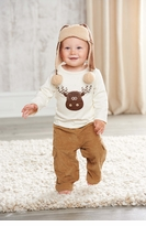 Mud Pie Moose Pant Set: Tan Boy's Corduroy Cargo Pant Set