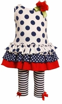 Bonnie Jean Girls Navy Dot Legging Set 12 month - 6X
