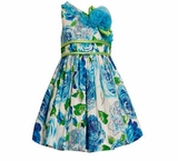 Girls 4-16  Floral Spring Dress : Blue One Shoulder Glitter Dress