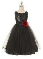 Flower Girl Dress - Black Sequin Double Mesh Special Occasion Dress - OUT OF STOCK