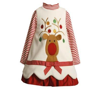 Bonnie Jean Newborn Baby Girls  Christmas Dresses - Ivory Reindeer SIZE 3-6 month  3-6 Months at Sears.com