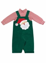 Boys Christmas Outfit : Green Corduroy Santa Applique Boys Jumper