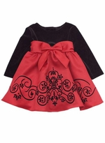 Girls Special Occasion Dress : Black Velvet to Red Satin Girls Holiday Dress
