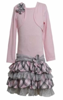 Girl's Pink Plaid Tiered Mock Dress SIZE 14