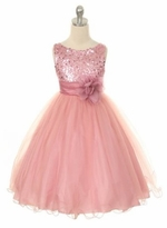 Flower Girl Dress - Pink Sequin Double Mesh Special Occasion Dress