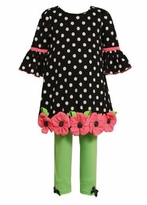 Polka Dot Black Tunic with Flower Applique Lime Legging Toddler or 4-6x Girl's Set
