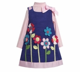 Toddler Girl's Purple Corduroy Jumper with Applique Flowers