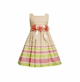 Awning Stripe Linen Easter Dress  2T