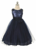 Flower Girl Dress - Navy Sequin Double Mesh Special Occasion Dress