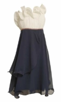 Girl's Special Occasion: Ivory Navy Cascade Chiffon Dress - sold out