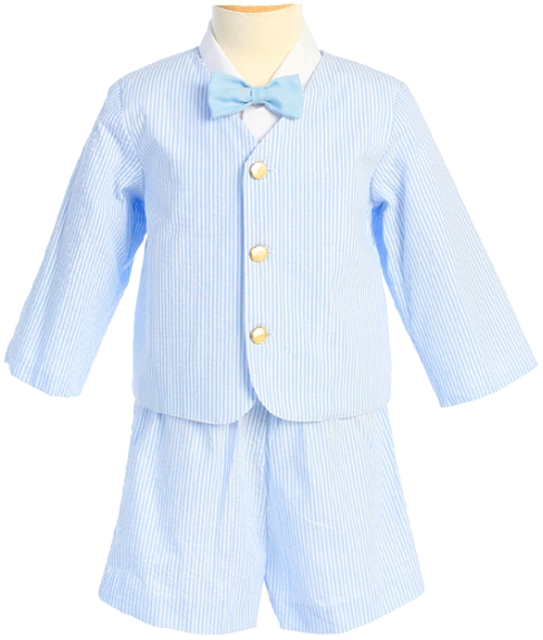 LITO Boys Light Blue Striped Seersucker Eton Suit and Shorts  3T-one left at Sears.com
