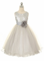 Flower Girl Dress - Silver Sequin Double Mesh Special Occasion Dress