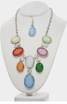 Faux Stone Necklace and Earring Set - New Arrival