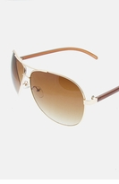 Aviator Sunglasses - Goldtone / Brown
