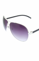 Aviator Sunglasses - Silver Black