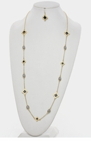 Clover Leaf and Beads Long Necklace and Clover Leaf Earring SET  - Gold Black