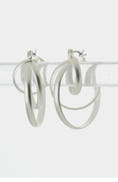 Cross Hoop Earrings Matte Silver - sold out