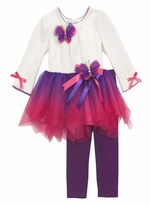 Rare Editions Purple Butterfly Ombre Tutu Legging Set