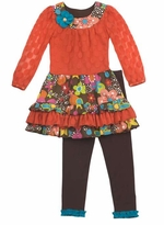 Rare Editions Girls Outfits : Orange Lace Floral Woven Girl's Dress With Leggings