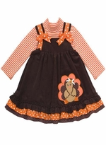 Rare Editions Girl's Thanksgiving Dress : Brown Corduroy Turkey Applique Toddler Girl Jumper Set