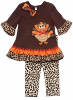 Girl's Brown Tunic Turkey Applique Cheetah Print Legging Set