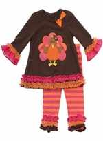 Girl's Brown Turkey Tunic with Striped and Ruffled Leggings Set