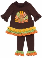 Girl's Brown Tunic Turkey Applique Ruffle Pant Set