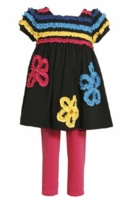 Girls: Newborn Black Knit Ruched Flower Legging Set