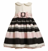 Girl's Stripe Satin Buckle Dress Pink Peter Pan Collar Dress