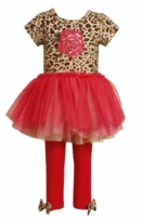 Bonnie Jean Girl's Rose Leopard Bodice Tutu Legging Set