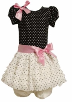 Special Occasion Dress: Girl's Black White Dot Eyelash Dress