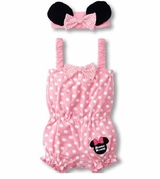 Pink Minnie Mouse Inspired Coverall and Headband