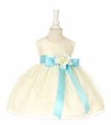 Baby Dress :  Ivory Lace Dress with Blue Satin Sash and Flower - sold out