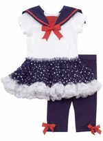 3 month - 6X Girls Navy and White Nautical Tutu Legging Set