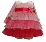 Bonnie Jean Little Girls Shades of Pink Valentine Dress - Pink Tiered Tulle SIZE